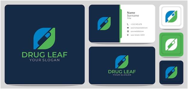 잎 약 약 로고 디자인 벡터와 캡슐 알약