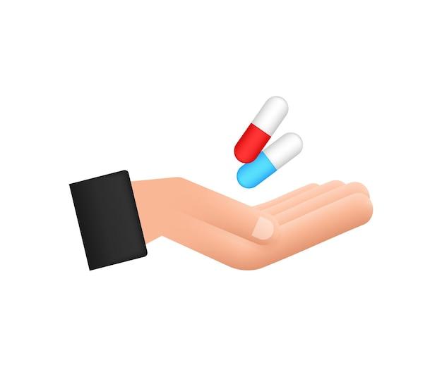 손에 캡슐 알약 흰색 배경에 캡슐이 있는 현실적인 알약 물집