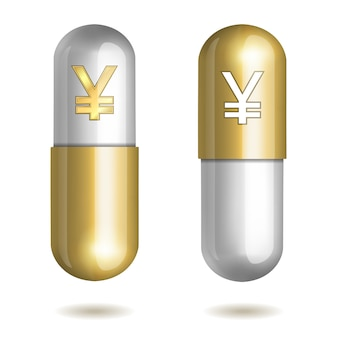 Capsule pills with yen signs.  illustration