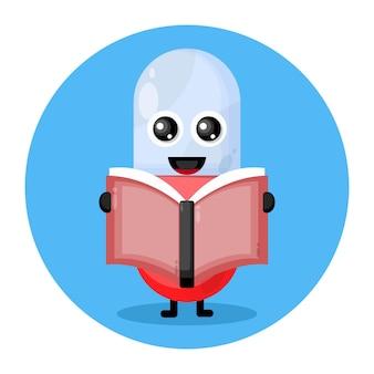Capsule reading book cute character logo