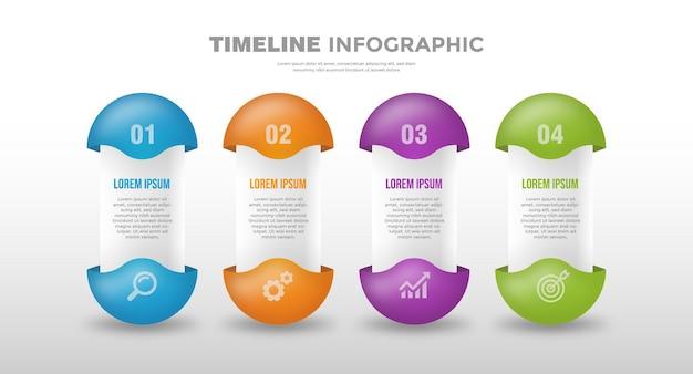 カプセルタイムラインビジネスインフォグラフィックテンプレート