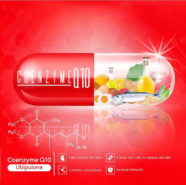 레드 비타민 q10 캡슐 생선과 고기 심장에 영양 공급