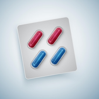 Capsules and pills in new blister pack, medical products