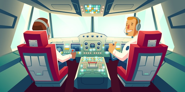 Captain and co-pilot sitting in airplane cabin with flight deck dashboard cartoon illustration