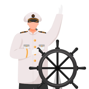 Captain flat illustration. cruise liner. navigator with helm. seafarer. skipper in work uniform isolated cartoon character on white background