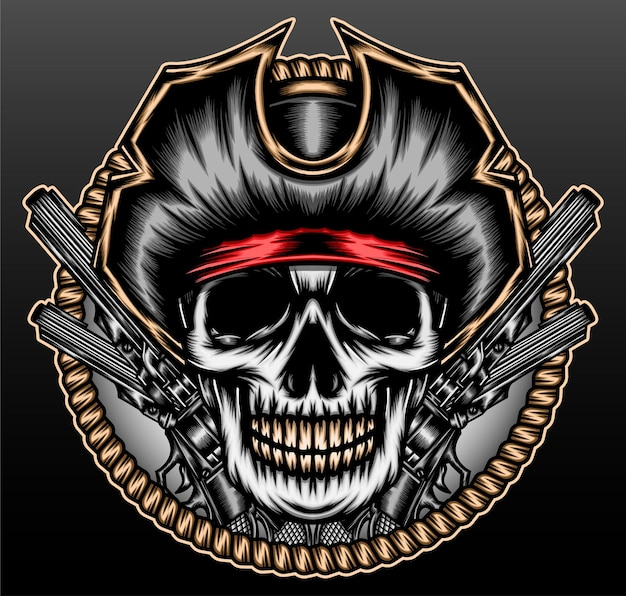 Captain pirate skull isolated on black