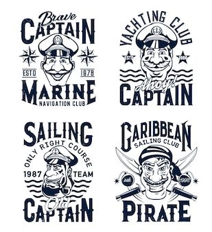 Captain and pirate t-shirt print template. smiling captain or sailor character in fourage with anchor, pirate face with crossed sabres vector. yachting and marine sailing club emblem, apparel print