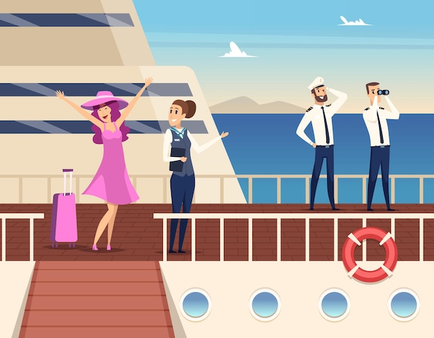 Captain on the sea ship. sailor cruise team boat officer and stuart travel  concept background.