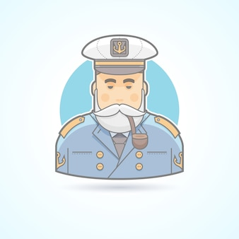 Captain of a ship, flag officer, sailor icon. avatar and person illustration.  colored outlined style.