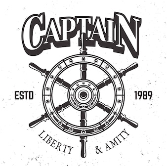 Captain ship wheel vintage label