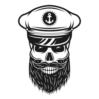 Captain skull in hat with beard and mustache