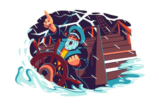 Капитан стоит у руля лодки