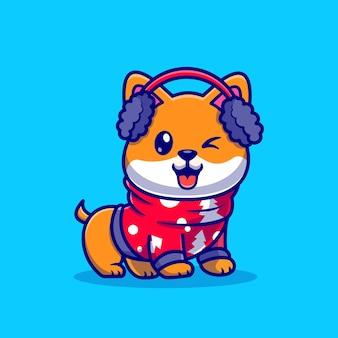 キャプション:冬の季節のかわいい柴犬犬漫画ベクトルアイコンイラスト。動物の休日のアイコンの概念は、プレミアムベクトルを分離しました。フラット漫画スタイル