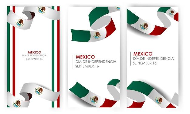Подпись день независимости мексики 16 сентября векторные иллюстрации