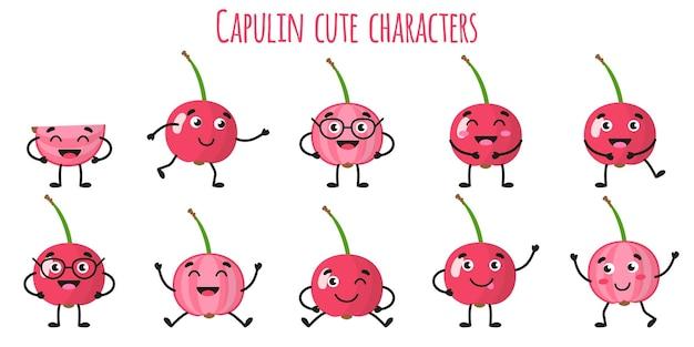 さまざまなポーズや感情を持つカプリン フルーツかわいい面白い陽気なキャラクター。天然ビタミン抗酸化デトックス フード コレクション。漫画の孤立したイラスト。