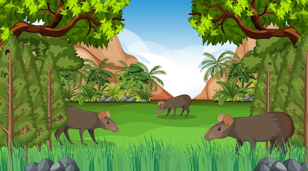 Capybara family in forest scene with many trees