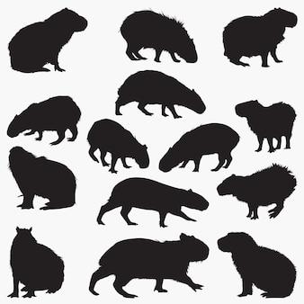 Capybara silhouettes set