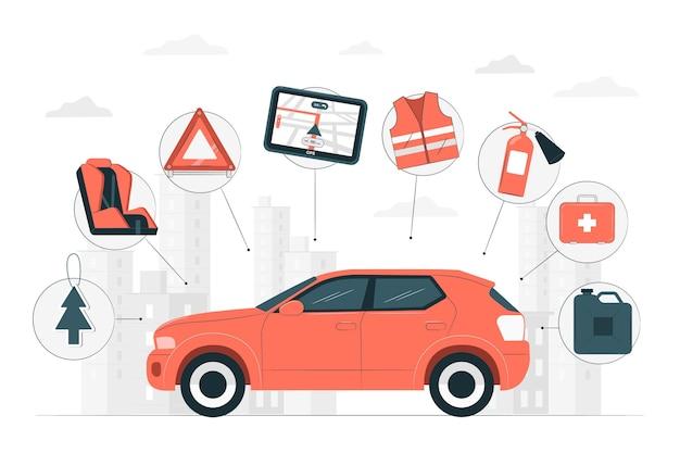 Автомобильные аксессуары концепции иллюстрации