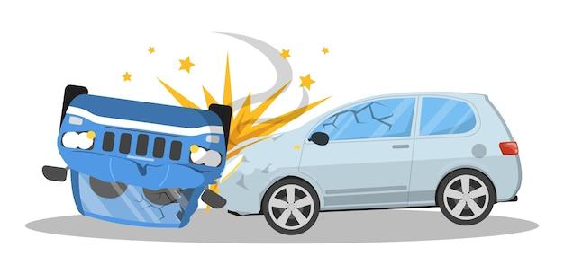 교통 사고. 도로에서 깨진 자동차, 긴급 상황. 자동차 손상. 삽화