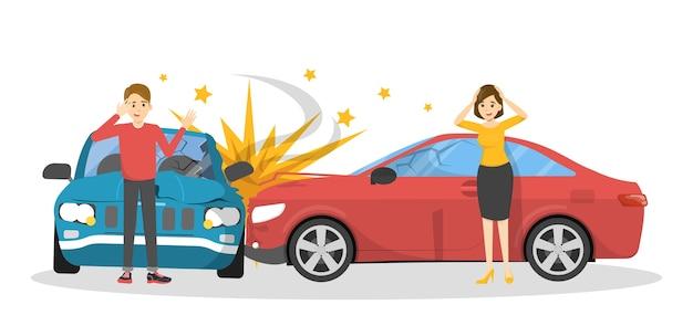 自動車事故。道路上の壊れた自動車