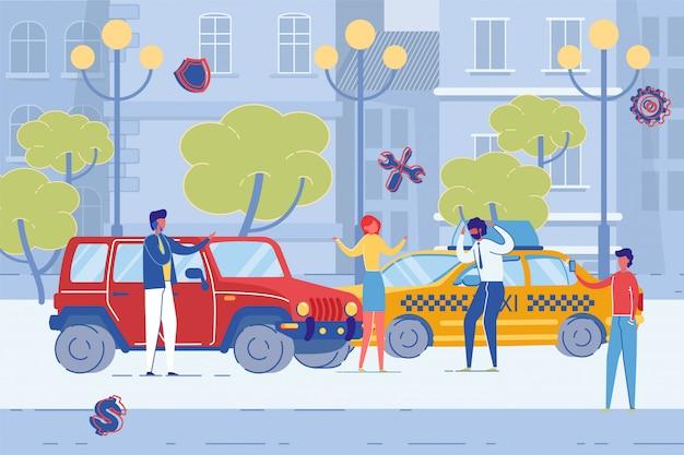 Автомобильная авария на городской дороге, повреждение транспортных средств.