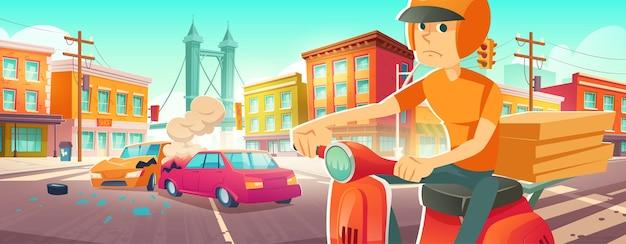 蒸気とへこみのある2台の壊れた自動車が高速道路とクールに立っている都市道路での自動車事故...