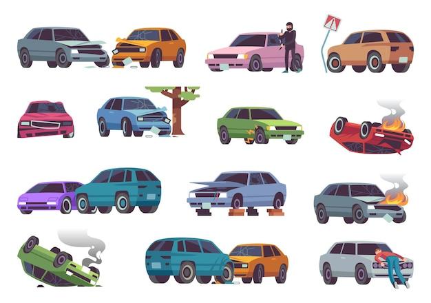 道路での自動車事故。さまざまな車両事故、損傷した車、火災による自動車事故、交通事故、保険金請求、壊れた自動車の損傷、ドライバーの衝突フラット漫画孤立ベクトルセット