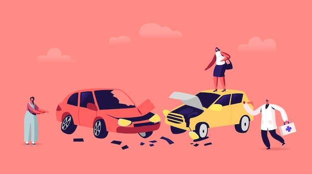 Car accident on road, drivers female characters arguing standing on roadside at crashed automobiles and doctor hurry to help