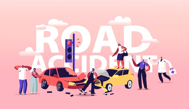 Car accident on road illustration