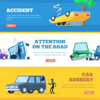 Car accidents. damaged and broken automobiles scene of carsh cars  pictures for banners