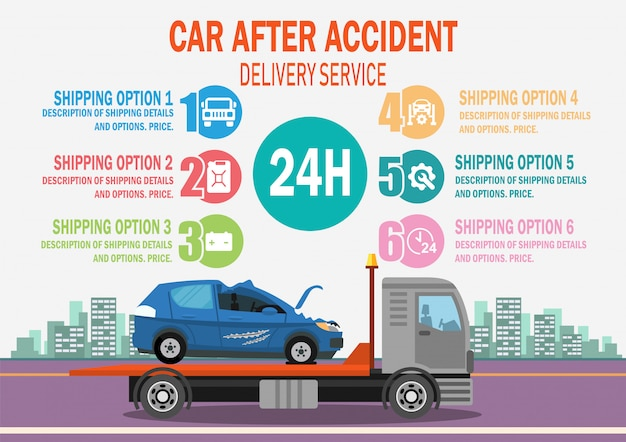 Car after accident delivery service. vector.