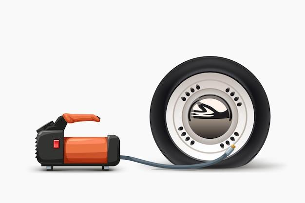 Автомобильный воздушный насос надувает спущенную шину, вид сбоку на белом