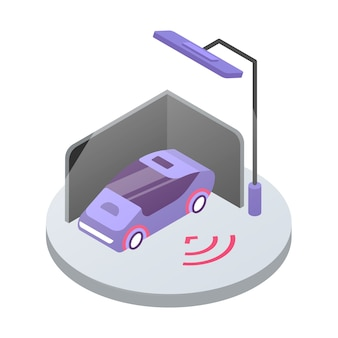 カーアラームシステムの等角カラーイラスト。輸送安全監視。公共駐車場の自動車。白い背景で隔離の車両セキュリティシステム3dコンセプト