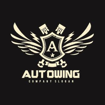 イーグルとウィングシンボルのロゴテンプレートを使用した車と自動車のロゴ。