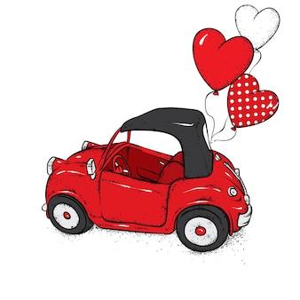 バレンタインデーのための車と風船の心