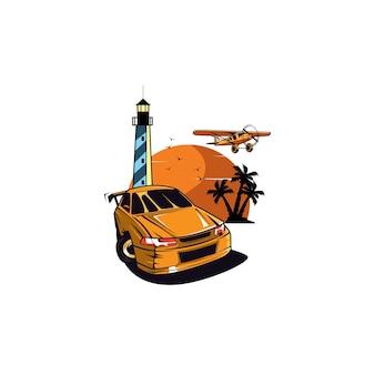 Автомобиль и логотип солнца