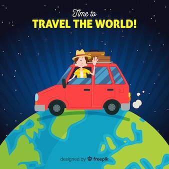 Car around the world travel background
