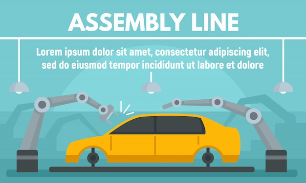 Car assembly banner in flat style