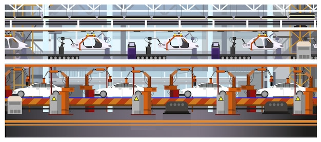 Car assembly line illustration