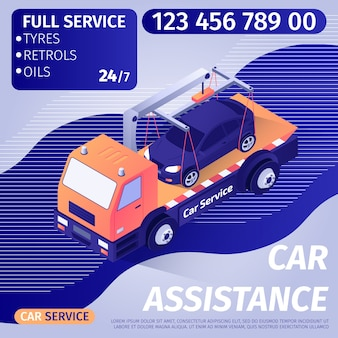 Car assistance advertisement banner template with text