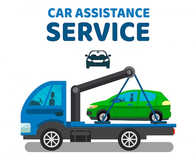 Car assistance service vector banner template