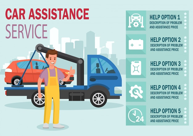 Car assistance service. vector flat illustration.