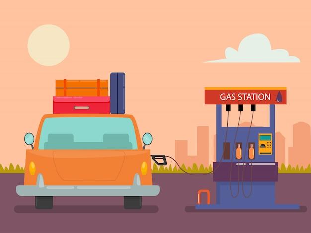 ガソリンスタンドの車