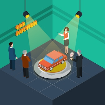 Car auction isometric