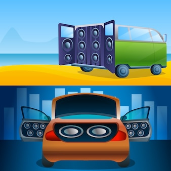 Car audio illustration set on cartoon style
