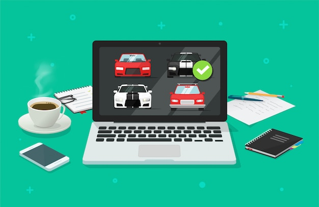 Car auto auction online on computer pc or rental vehicle internet shop comparison with choosing automobiles