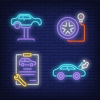 Car on auto lift, clipboard and tire neon signs set