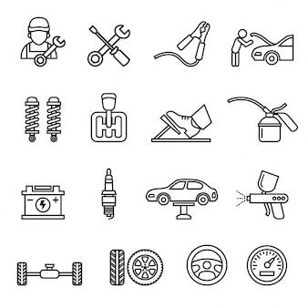 자동차 자동 서비스 및 정비사 아이콘 세트