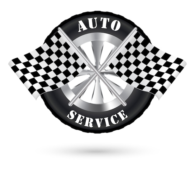 Car auto service logo with racing flag