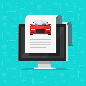 Car or automobile document report with text on computer